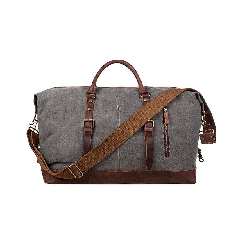 S-ZONE Oversized Canvas Genuine Leather Trim Weekender Bag