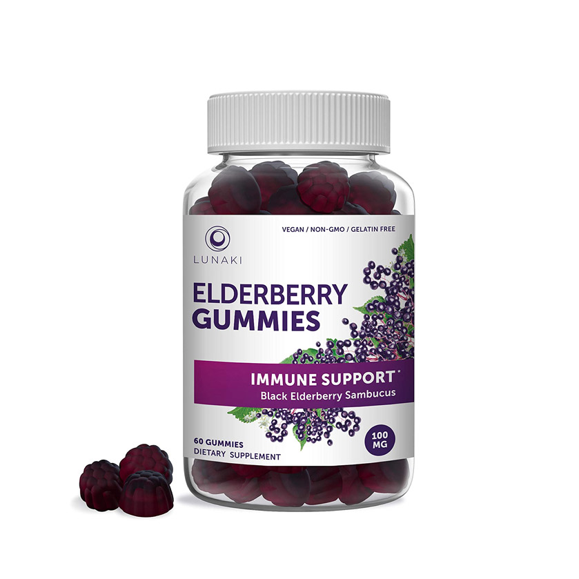 Lunaki Elderberry Gummies Immune Support for Adults and Kids with Zinc and Vitamin C