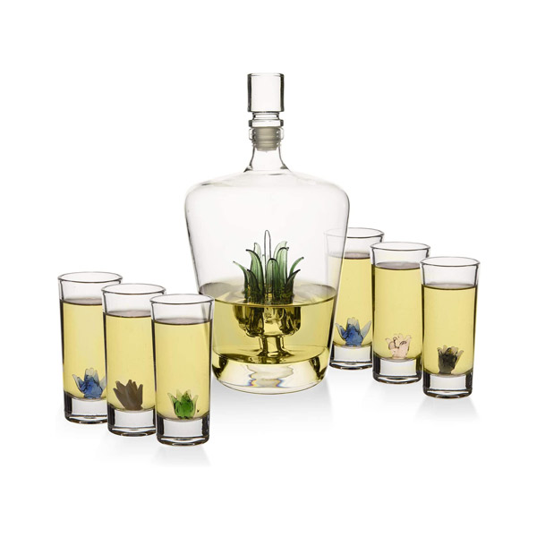 Classy Agave Tequila Decanter with 6 Shot Glasses