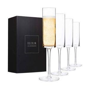 Set of Four Squared Champagne Flutes
