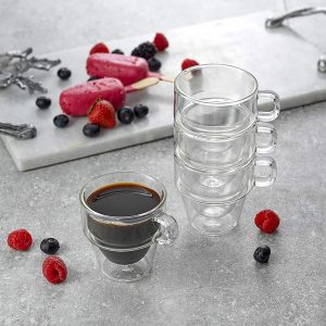 Set of Four Transparent Stoiva Insulated Espresso Cups