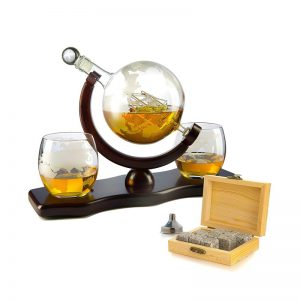Whiskey Decanter Globe Set With Two Etched Glasses